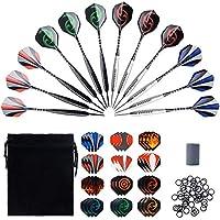 WenderGo Steel Tip Darts,12 Pack 25 Grams Professional Darts Set,36 Darts Flights, Non-Slip Iron Barrel,Aluminum Shaft,24 Anti-loose Rubber Rings,One Darts Sharpener And Black cloth bag