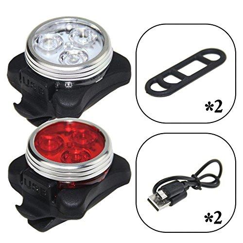 LED Fahrradlicht Set Wasserdicht USB Wiederaufladbar Fahrradlampe (Frontlichter und Rücklichter)