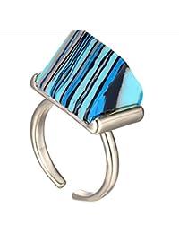 Personalidad turquesa azul abierto anillo de viaje de metal
