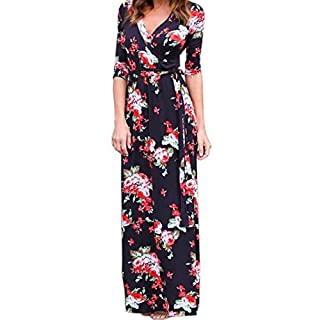 Women Dresses,Women V Neck Boho Long Maxi Evening Party Beach Dress Floral Sundress L (L, Black)