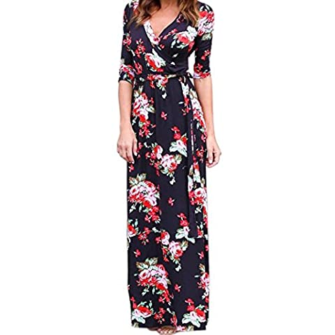 Women Dresses ,Women V Neck Boho Long Maxi Evening Party Beach Dress Floral Sundress L (L, Black)