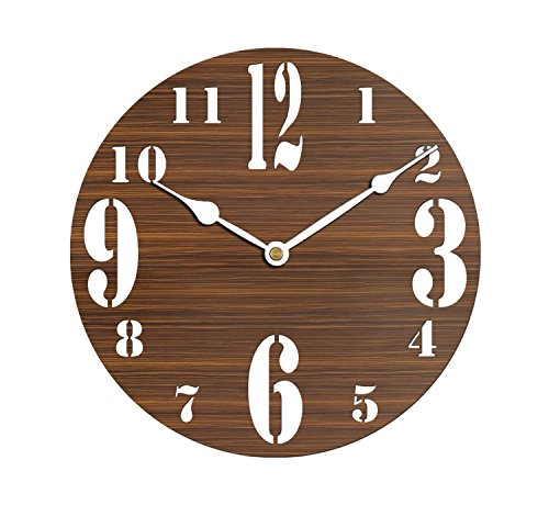 Sehaz Artworks BigSmallNum Round Wooden Wall Clock (25.5 cm x 25.5 cm x 3 cm, Brown)