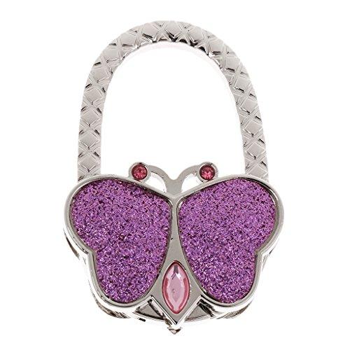 Accroche Sac Porte-Sac Crochet de Sac à Main Pliable Forme de Papillon - Rose