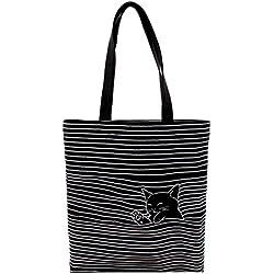 Damen Canvas Katze Shopper Tasche Streifen Leinwand Handtasche Mädchen Umhängetasche Schultertasche Beuteltasche für Outdoor Camping Ausflug Urlaub Schwarz