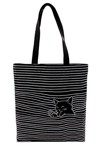 Streifen-buch-tasche (Damen Canvas Katze Shopper Tasche Streifen Leinwand Handtasche Mädchen Umhängetasche Schultertasche Beuteltasche für Outdoor Camping Ausflug Urlaub Schwarz)