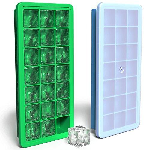 Vremi Silikon Eiswürfel mit Deckel - 2 Stück überdachte Eiswürfelbehälter - 21 kleine Würfel pro Eisschale 42 Würfel insgesamt - flexibler Gummi Kunststoff stapelbarer kleiner einfacher Cocktail