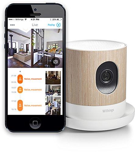 Withings Home Smart Video Monitor Innovative Personenerkennung - 135 Grad Weitwinkel-Zoom und Nachtsichtgeraet - 2 digitale Mikrofone und 1