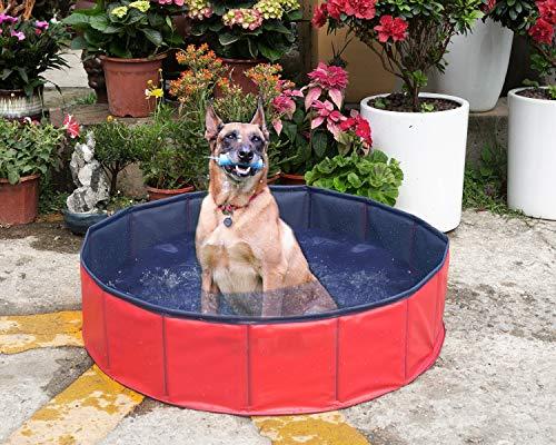 Yidarton Swimming Pool für Hunde Hundepool Doggy Pool Badewanne Pool Umweltfreundliches PVC Hundepool 160x30 cm Rot