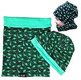 HECKBO Kinder Jungen Beanie Mütze & Loop-Schal Set | geeignet für Frühling, Sommer, Herbst | Wendemütze Dinosaurier Dino | 2 bis 7 Jahren | 95% Baumwolle | weiches & pflegeleichtes Stretch-Material