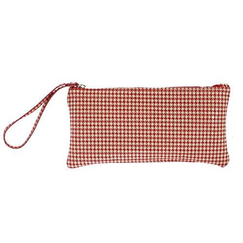 CTM Frau Kupplung, kleine Handtasche mit geometrischen Mustern, italienischem Leder Made in Italy 28x14x2.5 Cm Rote