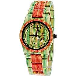 """Kleine Pure Time® Damenuhr designer Damen Holz Uhr Armbanduhr in bunt limitierte """"Summer Edition"""" inkl Uhrenbox"""