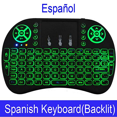 Keyboard Color Backlit Mini Wireless English Russian Air Mouse with Touchpad Remote Control Tv Box G -