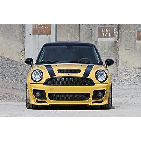 Classic Y Muscle Car de indicadores y tipo de Auto Mini Cooper S (R56) de minitune (2014) Auto Art Póster De Impresión sobre 10mil archivo papel satén amarillo delantero estática View, papel, Yellow Front Static View, 50,8 x 40,6