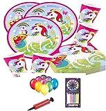 Regenbogen-Einhorn-Kindergeburtstags-Party-Geschirr für 32 Gäste-Teller Cups Servietten Tischdecke und freie Baloons und Pumpe