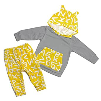 392b4688f Saingace 1PC Top+1PC Pant Baby Newborn Boys Girls Print Clothing Set ...