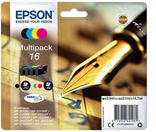 epson patronen 16 Epson Original  C13T16264012  Füller, wisch- und wasserfeste Tinte (Multipack, 4-farbig) (CYMK)