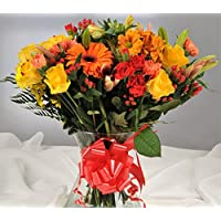 Autumnal Orange & Yellow Fresh Flower Bouquet with Handwritten Card - Flowers Delivered FREE UK Next Day in a 1hr Delivery Time-Slot 7 Days a Week - Gift a Beautiful Bunch of Real Cut Flowers