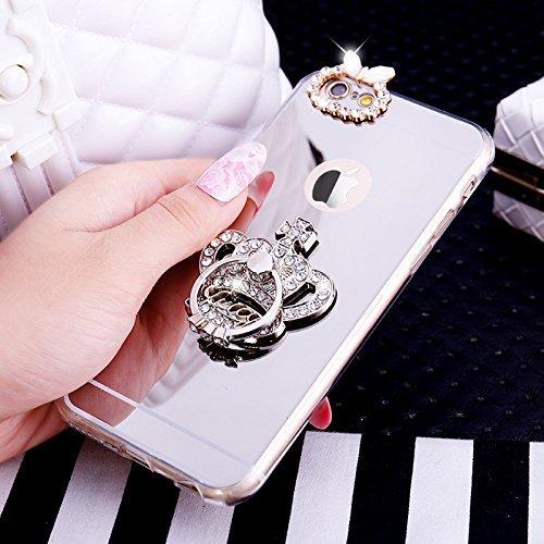 EUWLY Silicone Custodia per iPhone 7/iPhone 8 (4.7),Specchio Cover Case per [iPhone 7/iPhone 8 (4.7)],Glossy Mirror Bling Glitter Diamante TPU Custodia Case Corona Imperiale Ring Anello Supporto Hol Anello Corona Imperiale,Argento