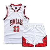 Sokaly Ragazzi Chicago Bulls Jorden # 23 Golden State Curry BOSTON Pantaloncini da Basket Jerseys set di abbigliamento sportivo Maglie Top e Shorts 3-10anni (Bianca01#23, M(4-5 anni))
