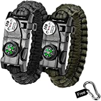 Bermunavy Survival Bracelet, 20 in 1 Paracord Bracelets 2 Packs - Survival Gear Kit with Compass SOS LED Light Emergency Knife Fire Starter Whistle for Hiking Camping Emergency Outdoor Activities