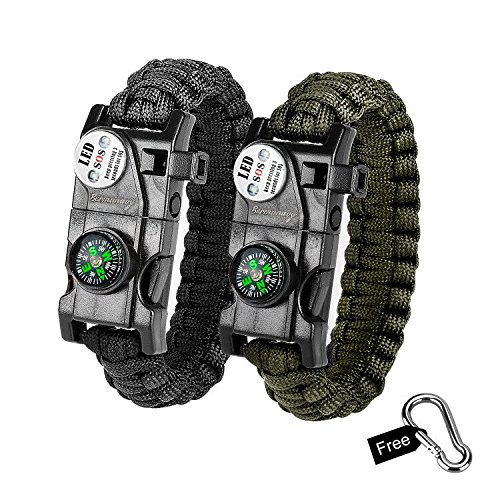 bermunavy Fallschirmseil-Armband, 2er Pack, Survival-Armbänder für Notfallsituationen, Survival SOS-LED-Licht, Feueranzünder,, Kompass, Notfall-Trillerpfeife, und Mini-Multitool, grün