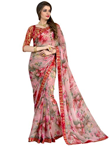 Sarees (Vastrang Sarees Women\'s Multi Color Beautiful Printed Pure Georgette Designer Party wear printed Saree with Art Silk Print Lace Border & same Border Matching Printed Art Silk Blouse_VS5151316