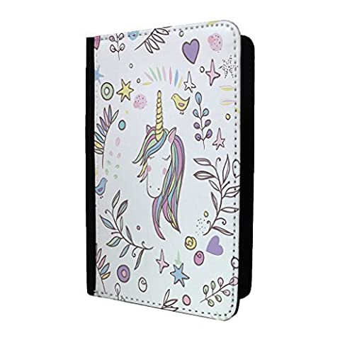 Licornes Joli Cœurs Étoiles Porte-passeport Étui Housse - S1553