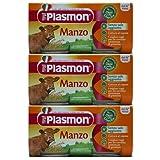 3x Plasmon Babynahrung Manzo Homogenisiert 'Rindfleisch', 2x 80 g