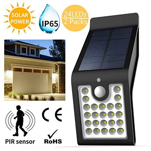 Ultra helle LED Solar-Wandleuchten PIR-Sensor für den Außenbereich, Sicherheitsleuchte Zaunlicht, Kaltweiß, 2 Einheiten -