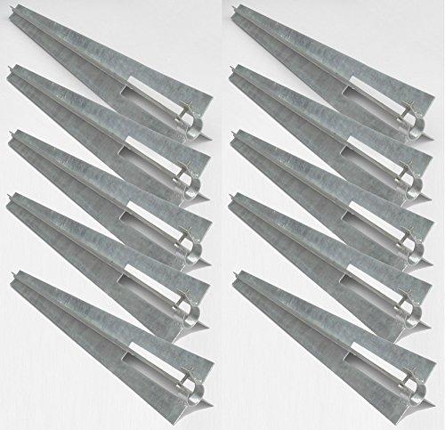 10 Sück Pfostenträger Einschlaghülse Bodenhülse für Zaunpfosten Ø 34 mm feuerverzinkt