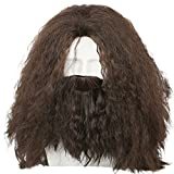 Halloween Perruque Femme Longue Marron Frisé Tête pleine ondée Cheveux pour Adult Party Déguisement Cosplay Costume Accessoires (Hagrid)