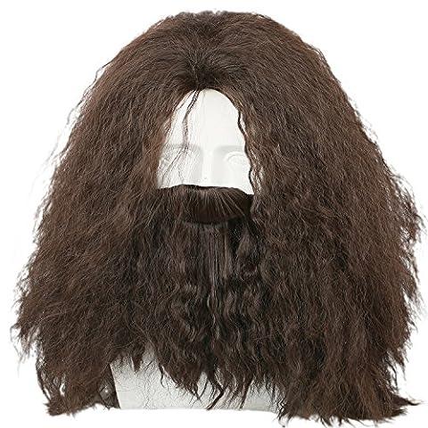 Homme Cosplay Perruque Brown Longue Frisée Cheveux Accessories Avec Beard