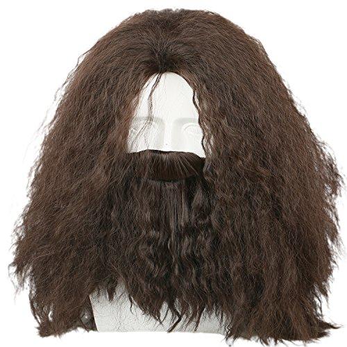 it Bart Lang Braun Lockig Haar für Erwachsene Herren Verrücktes Kleid Cosplay Kostüm Zubehör (Lockige Perücke Halloween)