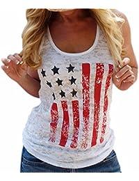 QIYUN.Z Mujeres Moda Americana Patriotica Mangas Impresion De La Bandera Camiseta Blanca Sin Mangas