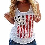 QIYUN.Z Mujeres Moda Americana Patriotica Mangas Impresion De La Bandera ...