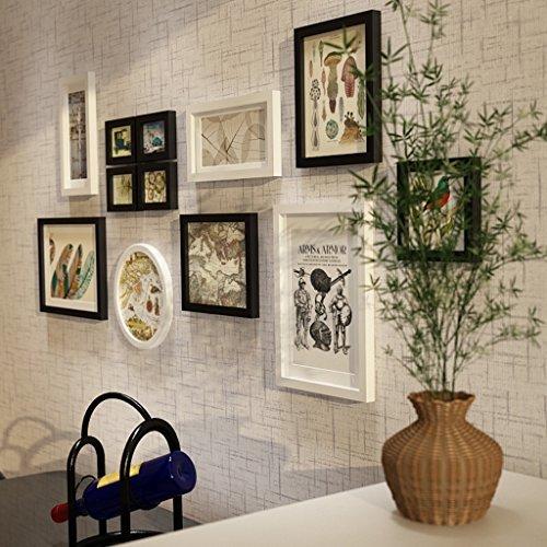Home @ Wall Bilderrahmen Massivholz-Rahmen-Wand, moderne Foto-Wand-Ausgangshintergrund-Wand-Dekoration stellte 12 Stück-Foto-Rahmen-Wand, Umweltschutz - Sprühfarbe ein ( Farbe : Schwarz+Weiss )