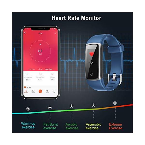 YONMIG Pulsera de Actividad, Pulsera Inteligente Impermeable IP68 con Pulsómetro y Presión Arterial, Monitor de Podómetros, Monitor de Calorías Notificación de Mensaje Deporte para iOS y Android 5