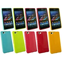 Emartbuy® Sony Xperia Z1 Compact Bundle Von 5 Shiny Gloss Bunte Gel Case Hülle Schutzhülle Gelb, Grün, Rot, Rosa & Blau