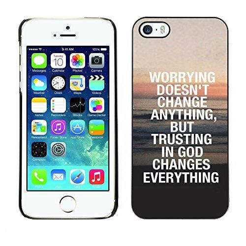 ouucase Coque rigide pour iPhone 5/5S-Confiance en Dieu Change tout DIY HD Housse PC Pour New Design