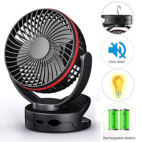 Clip on Fan, USB Desk Table Fan Battery Operated, Ultra Quiet 4-Speed Portable Baby Stroller Fan w/ Warm Night Light, 3600mAh Rechargeable Hanging Fan for Outdoor Camping Home Office Buggy