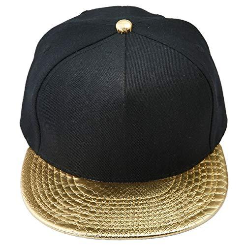 KYEYGWO Unisex Hip Hop Kappe, Snapback Caps Mütze für Herren und Damen Verstellbar Flat Brim Baseball Cap, Gold & Schwarz(einstellbar), Einheitsgröße