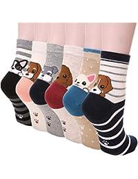 5-6 Pares Calcetines de Algodón para Mujeres Colores Mezclados Animales de Dibujos Gato Patrón