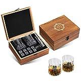 Baban Whisky Stones 8 PCS e Bicchieri Whisky 2 PCS & Pinze per Cubetti di Ghiaccio riutilizzabili,Scatola in Legno Premium Regali per Lui