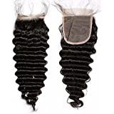 7A Brazilian Deep Wave 4x4 Lace Closure With Baby Hair Free Part Natural Black 100% Unprocessed Virgin Human Hair...