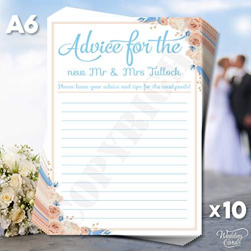 Wedding Cards 10 x Ratschläge für die Braut und den Bräutigam, Hochzeits-Gästebuch, Hochzeits-Gästebuch, Wunschtexte, Farben, Größe (bis A4, Bitte Fragen Sie nach Einem Zitat)