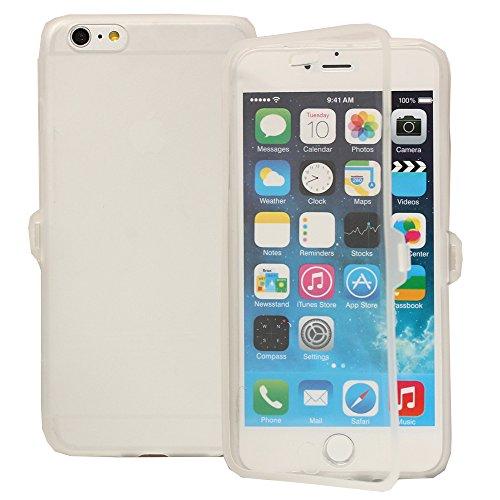 VComp-Shop® Silikon Handy Schutzhülle mit Klappe für Apple iPhone 6 Plus/ 6s Plus - HELLBLAU TRANSPARENT