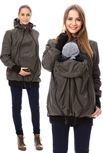 GoFuture Damen Tragejacke für Mama und Baby 4in1 Känguru Jacke Umstandsjacke aus Concordia Shell und Fleece LOVEWINGS GF2070 Olive
