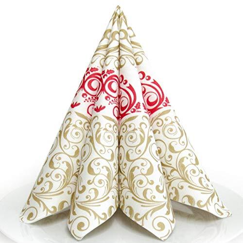 n Weihnachten rot/Gold Premium AIRLAID STOFFÄHNLICH | 25 Stück | 40 x 40cm | 1/4 Falz | hochwertige, edle Weihnachtsservietten | Weihnachtsdeko | Made in Germany ()