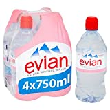 Noch Evian Mineral Water Sports Cap 4 x 750ml