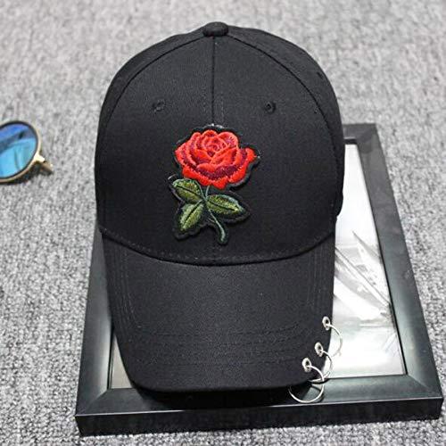 Imagen de vecdy  béisbol, algodón bordado rosa tres anillos  de béisbol hombres y mujeres deportes curva sombrilla sombrero de  deportes adjustable al aire libre motocicleta negro,1  alternativa